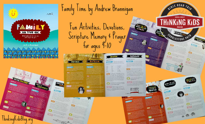 Fun activities, devotions, Scripture memory, & prayer for ages 4-10 fill the pages of Family Time.